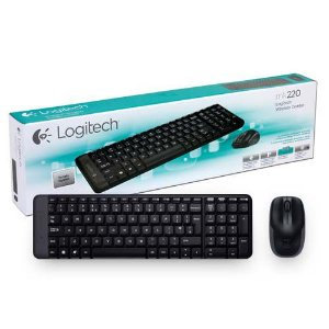 Kit Logitech Teclado e Mouse Wireless MK220 Preto