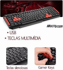 Teclado Multimídia Multilaser Gamer Red Keys USB - TC160