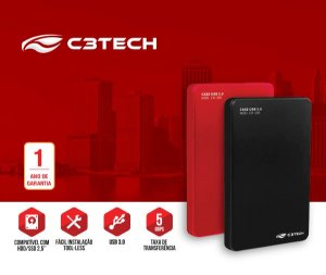 "Case para HD C3Tech 2.5"" Sata USB 5Gbps Vermelho CH-300RD"