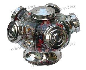 Baleiro Giratório PQ 22 CM 01 Andar Alumínio - Bar Mercearia Presente Noiva Mãe Balas Doces Antigo