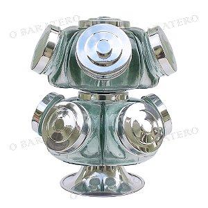 Baleiro Giratório MD 27 CM 02 Andares Alumínio - Bar Mercearia Presente Noiva Mãe Balas Doces Antigo