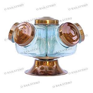 Baleiro Giratório Colorido PQ 22 CM 01 Andar Alumínio - Bar Mercearia Presente Noiva Mãe Balas Doces Antigo