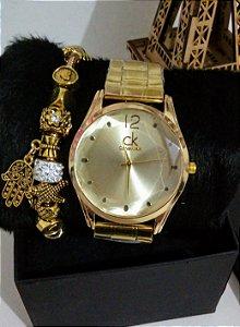 Relogio Feminino CK Dourado + pulseira Pandora e caixinha exclusiva