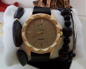 Kit 5 Relogios Adidas Silicone + Caixinhas e mix de pulseiras