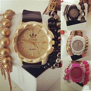 Kit Relogio Adidas pulseira Silicone + Mix de pulseiras e caixinhas