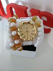 Relógio Adidas silicone + pulseiras