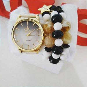 Kit relógio CK pulseira em couro + pulseiras e caixinha