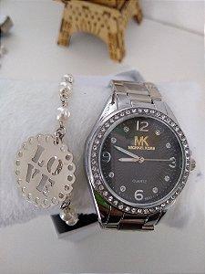 Relógio prata feminino + pulseira folheada e caixinha