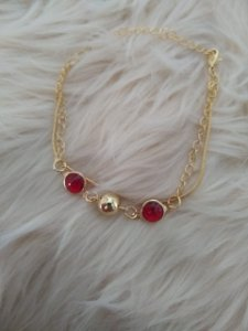 Pulseira Feminina Folheada - Pedra Vermelha