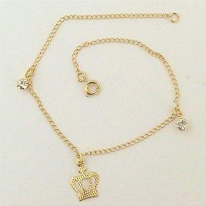 Tornozeleira Folheada a ouro 18k - Pingente Coroa