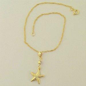 Tornozeleira Folheada a ouro 18k - Estrela do mar