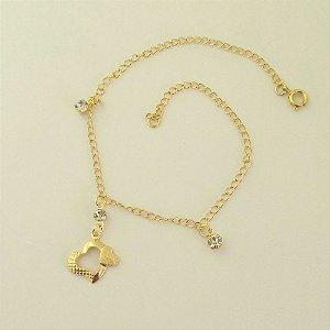 Tornozeleira Folheada a ouro 18k - Pingente Coração