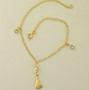Tornozeleira Folheada a ouro 18k - Pingente Nossa Senhora Aparecida