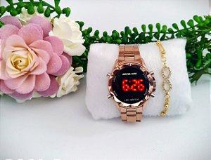 Kit com Relógios Femininos Digitais Mk + Pulseiras folheadas