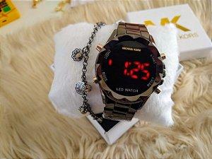 Relógio feminino Mk digital + pulseira folheada e caixinha