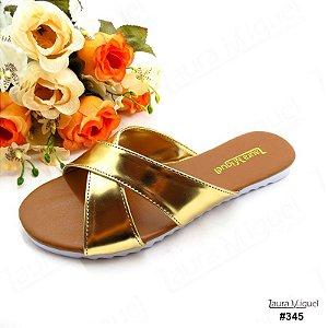 Rasteira Flatform Laura Miguel Tiras Cruzadas Dourada - 345