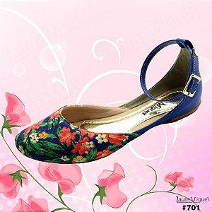 Sapatilha Laura Miguel Dorsay Floral Azul - 701