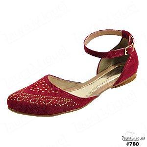 Sapatilha Laura Miguel Dorsay Camurça Vermelha com Hot Fix - 780