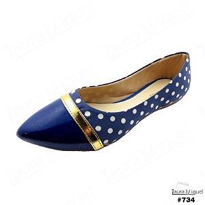 Sapatilha Laura Miguel Bico Fino Azul com Poá Branco - 734