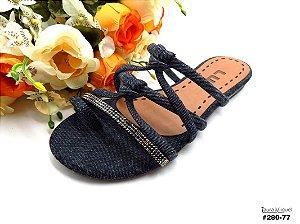 Rasteira Flat Luk em Jeans Escuro - 28077