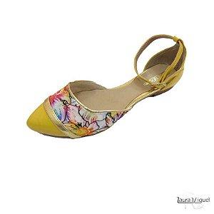 Sapatilha Laura Miguel Dorsay Amarelo com Floral - 750