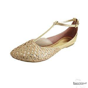 Sapatilha Salomé Dourada com Gliter Ouro - 3021