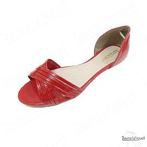 Sandália Rasteira Laura Miguel de Tiras Cruzadas Vermelha - 257
