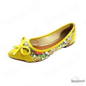 Sapatilha Laura Miguel Laço Amarelo com Floral - 771