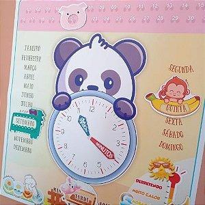 Quadro em imã - Relógio - Panda