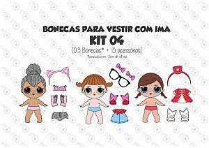 Kit 04 para Vestir com imãs - Bonecas LOL