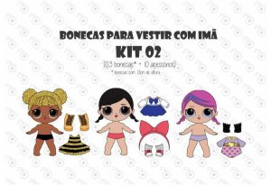 Kit 02 para Vestir com imãs - Bonecas LOL