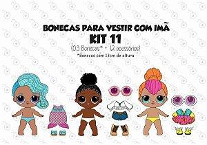 Kit 11 para Vestir com imãs - Bonecas LOL