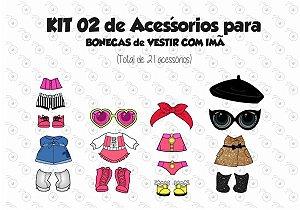 Kit 02 de Acessórios para Vestir com imãs - Bonecas LOL