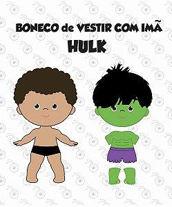 Boneco p/ Vestir com imãs - Fantasia Hulk