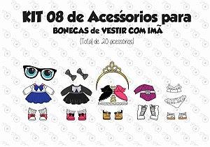 Kit 08 de Acessórios para Vestir com imãs - Bonecas LOL