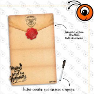 Lousa Magnética Carta Hogwarts + Caneta