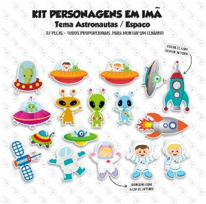 Kit - Astronauta - Personagens em imã