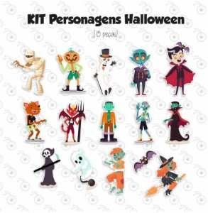 Kit - Halloween - Personagens em imã