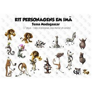 Kit Madagascar - Personagens em imã