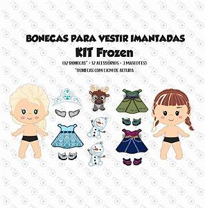 Especial FROZEN - Kit Bonecas p/ Vestir com imãs