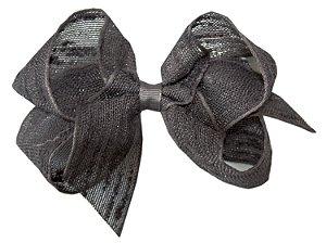 Laço Shabby Linen Cinza Chumbo 12 cm Gumii