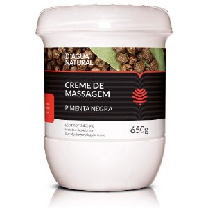 D'Água Natural Creme de Massagem Pimenta Negra 650g
