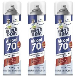 Álcool Aerossol 70% Super Dom Kit 3x300ml