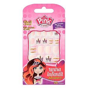 Unhas Kiss Pink Infantil Unicornio Pink 6 PBG04