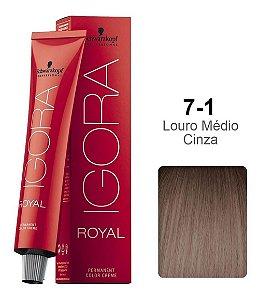 Coloração Schwarzkopf Igora 7-1 Louro Médio Cinza