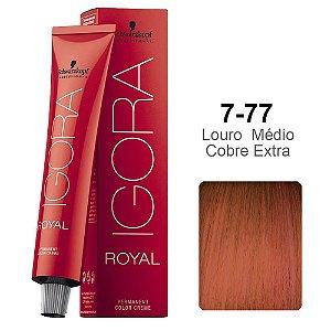 Coloração Schwarzkopf Igora 7-77 Louro Médio Cobre Extra