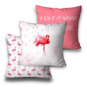 kit 3 almofadas flamingo top