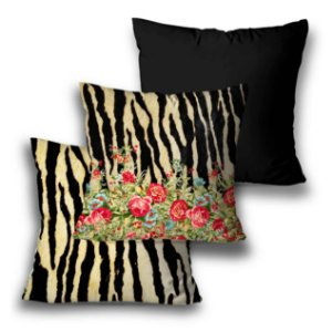kit 3 almofadas flores animal print