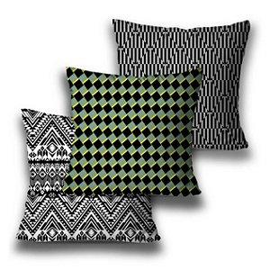 kit 3 almofadas geométrica verde