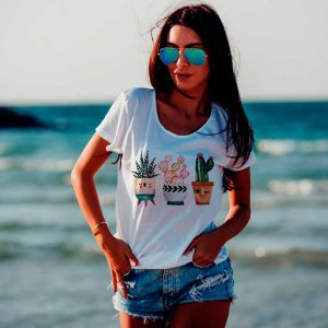 Camiseta T-shirt Feminina cactos